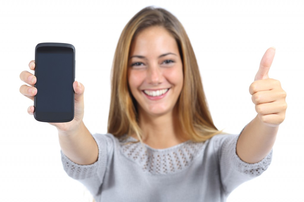 Android smartphone Woman Showing A Smartphone With Thumb Up